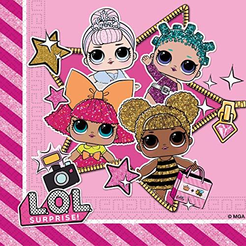 Gabiano- L.O.L. Lol Surprise Pack20 servilleta papel 30c m, Color rosa, 1 paquete (76987) , color/modelo surtido