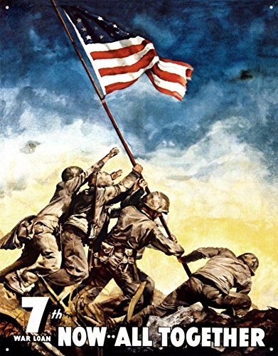7th War Loan Bonds Iwo Jima US Flag WWII Retro Vintage Tin Sign