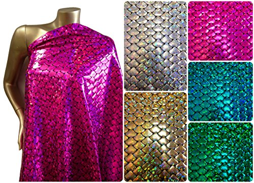 Fish Costume Pattern (Shiny Holographic Foil Mermaid Scales Pattern on Black Stretch Nylon Spandex Shiny Tricot Fabric By the Yard (Fuchsia))