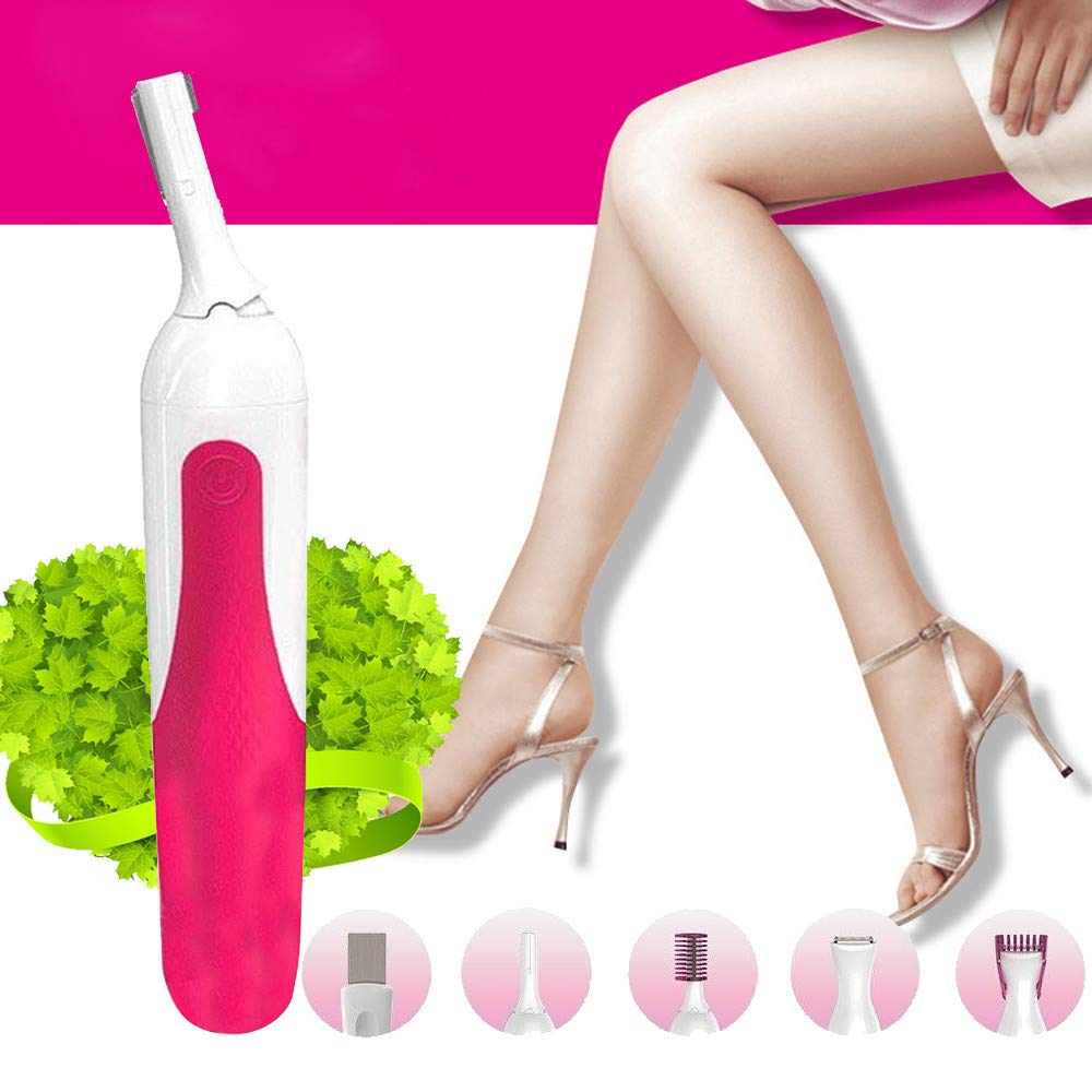 Electric Facial Hair Remover Rechargeable Eyebrow Trimmer Portable Waterproof Painless Razor for Women Men Lips Chin Cheeks Bikini (Pink)