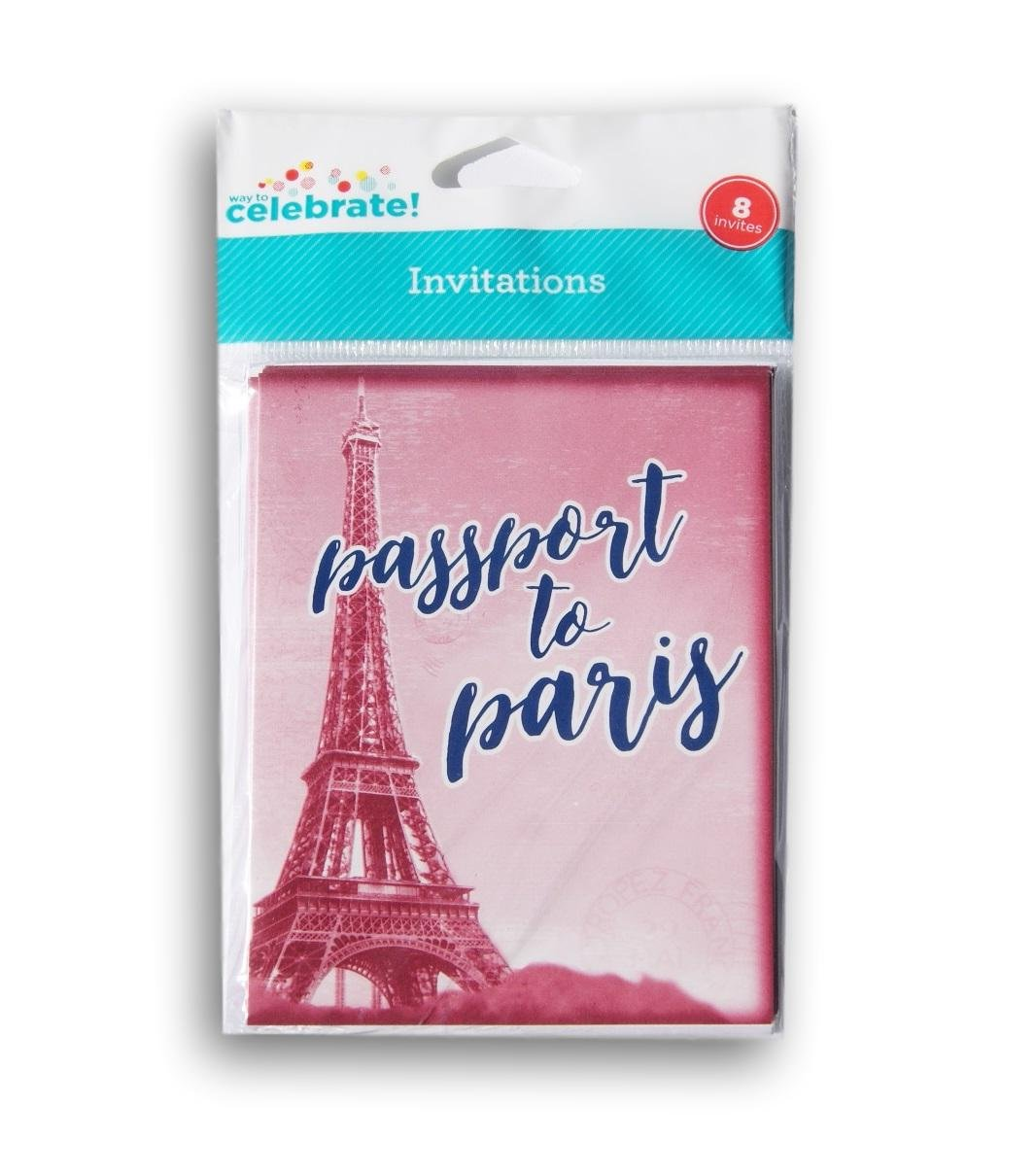Way to Celebrate Passport to Paris Party Invitations Cards and Envelopes Set 8 Count
