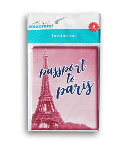 Way To Celebrate Passport Paris Party Invitations Cards And Envelopes Set