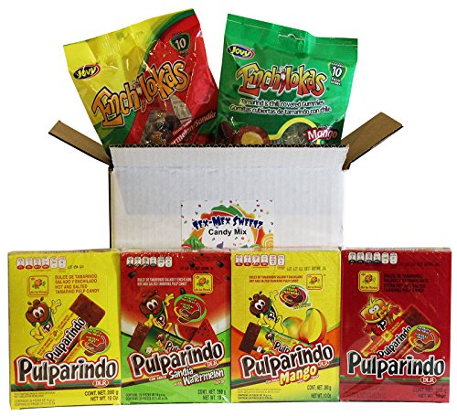 Pulparindo Mexican Candy Assortment. Includes De La Rosa and Jovy Spicy Tamarindo Mexican Candies in Original, Watermelon, Mango and Extra Hot Flavors.