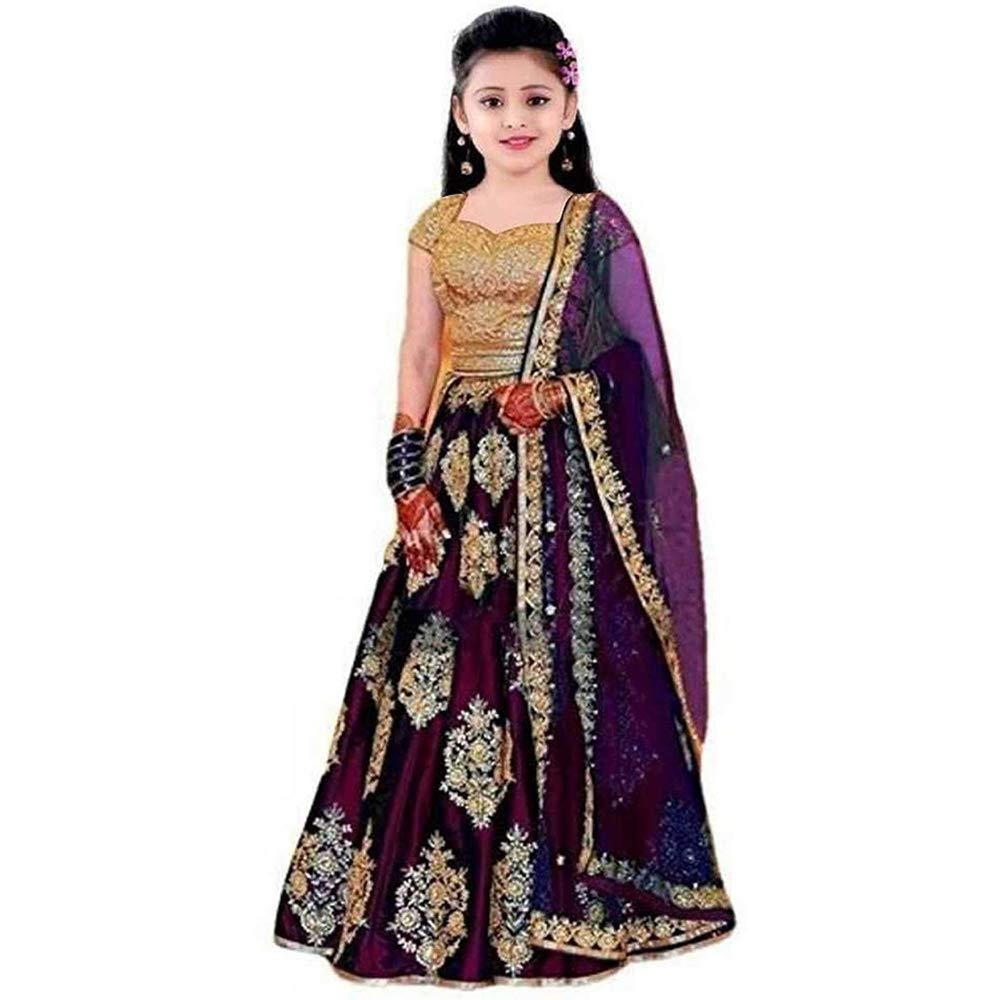 Buy Clothesshop Kids Girls Taffeta Satin Heavy Work Wear Semi Stitched Lehenga Choli Wine 7 8 Years At Amazon In
