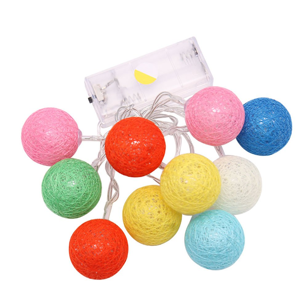 FOReverweihuajz 10 LED Rattan Ball Battery Operated String Light Fairy Decorative Lamp for Christmas Wedding Party Blue