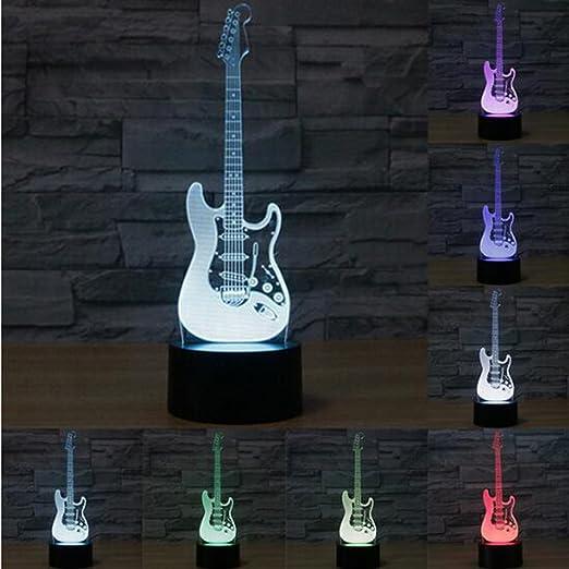 Creativa luz 3D guitarra eléctrica modelo Illusion 3d lámpara LED 7 colores cambiantes USB sensor táctil