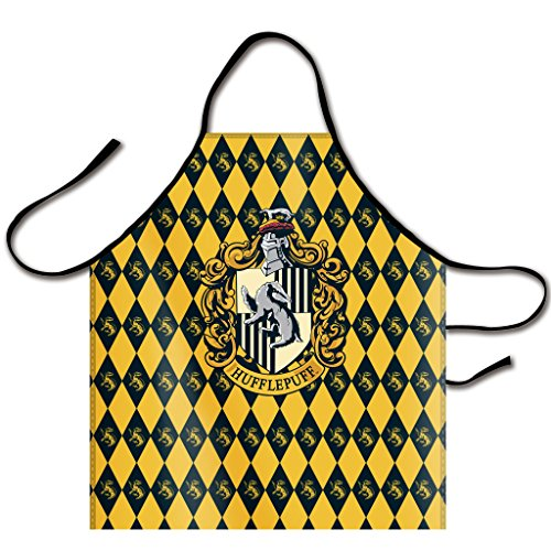 (Kaylin Popular Harry Potter Academy Hufflepuff Diamond Pattern Logo Bib Apron Canvas Chef Apron Cooking Apron Professional Apron for Cooking, Grill and Baking 32-Inch Length by 28-Inch Width )