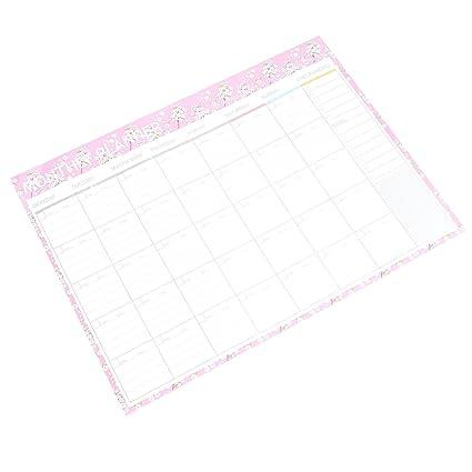 NUOLUX Planificador mensual Calendario Calendario Organizador Agenda de agenda Organizador portátil con borde decorativo (flor rosa)