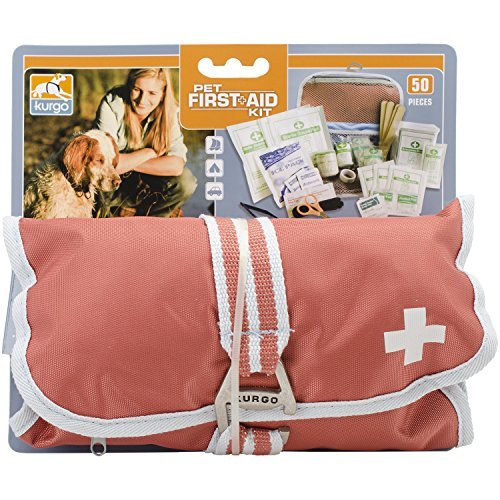Kurgo 1263 Portable Dog First Aid Kit Pet Medical Kit (50 Piece), One Size, Paprika
