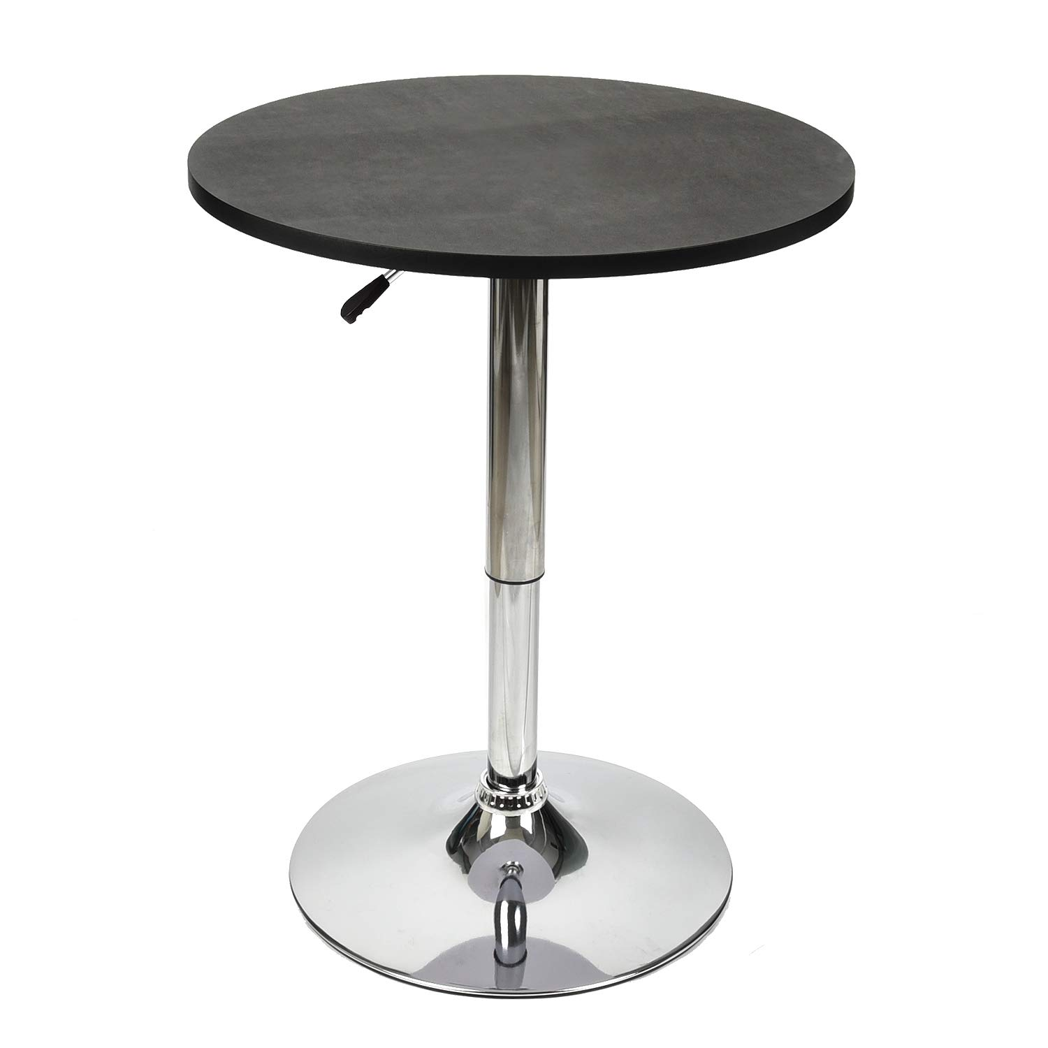 35 Inches Height Round Bar Table Adjustable Height Chrome Metal and Wood Cocktail Pub Table MDF Top 360°Swivel Furniture (Black)