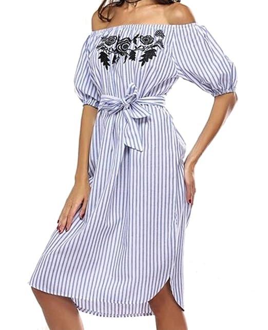 Sentao Mujer Rayas Casual de Playa Fiesta Vestido Moda Bordado Fuera del Hombro Mini Vestidos Azul
