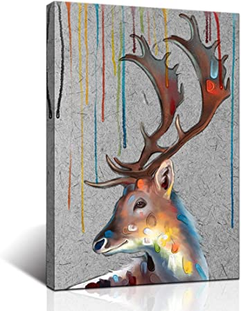 Amazon Com Klvos Deer Art Wall Decor Print On Canvas Wildlife Reindeer With Big Horn Animal Painting Artwork For Christmas Room Wall Decoration Modern Home Artwork Stretched Gallery Wrap Framed 16x24 Inch Posters
