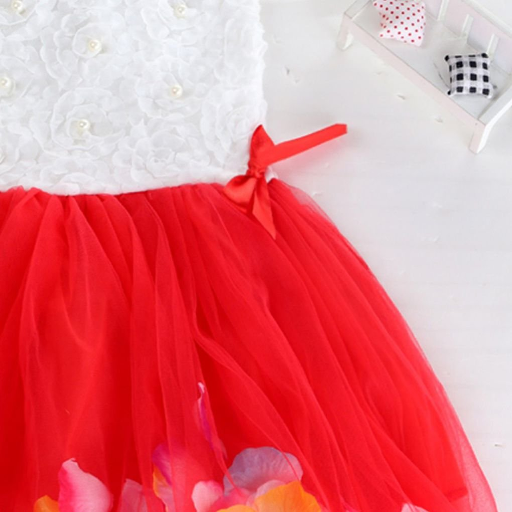 MuLuo Children Kids Girls Petal Hem Floral Cake Sleeveless Summer Mesh Net Cute Bowknot Princess Bubble Dresses