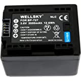 【WELLSKY】 CANON キヤノン iVIS アイビス   ● BP-727 互換バッテリー ● 純正充電器で充電可能 残量表示可能 ● iVIS HF M52 / HF M51 / HF R31 / HF R30 / HF R32 / HF R42 / HF R52 / HF R62 / HF R700 / HF R72