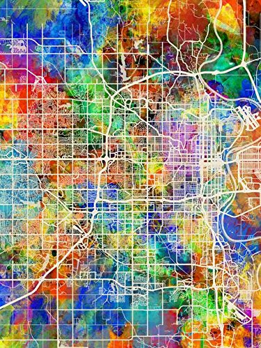 Imagekind Wall Art Print Entitled Omaha Nebraska City Map by Michael Tompsett | 24 x 32 ()