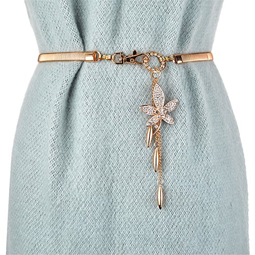 LONFENN The Spring and Summer, Ms. Metal Elastic Waistband Skirt Waist Chain with Diamond Maple Leaf-Fall into The Trim Skirt Waistband fine Gold and Silver-Colored, Gold - Maple Leaf,62cm