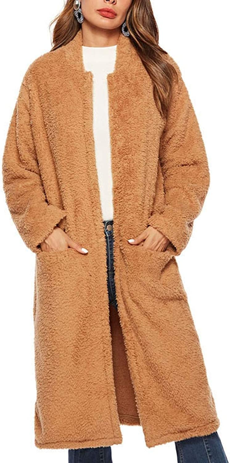 Fleece Collarless Long Sleeve Pocket Coat Winter Open Front Solid Casual Outerwear Jacket,Brown,XL