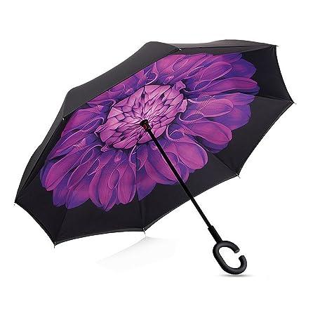 Paraguas Invertido De Doble Capa De Inversade En Forma De C Manija Libre Paraguas A Prueba