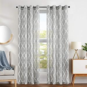 "jinchan Quatrefoil Linen Blend Curtains - Moroccan Tile Pattern Print Curtain Window Curtain Panels for Living Room Geometry Lattice 2 Panels 50"" W x 84"" L Soft Grey"