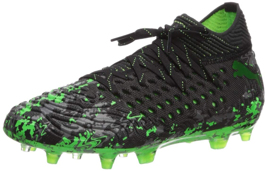 PUMA Unisex Future 19.1 Netfit FG/AG JR Sneaker, Black-Charcoal Gray-Green Gecko, 5 M US Big Kid by PUMA (Image #1)