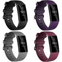 4 Pack Bands for Fitbit Charge 4/ Fitbit Charge 3/ Charge3 SE, Soft Waterproof Replacement Wristbands for Women Men…