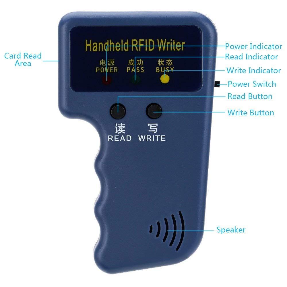 Security Handheld 125KHz RFID ID Card Writer/Copier Duplicator + 6pcs Writable Key Cards Office