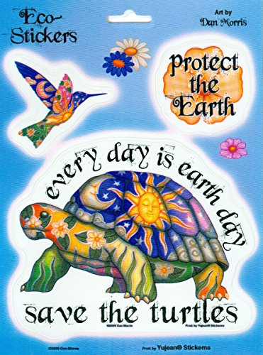 (Dan Morris - Everyday is Earth Day Save The Turtles - Set of 3 Stickers / Decals)