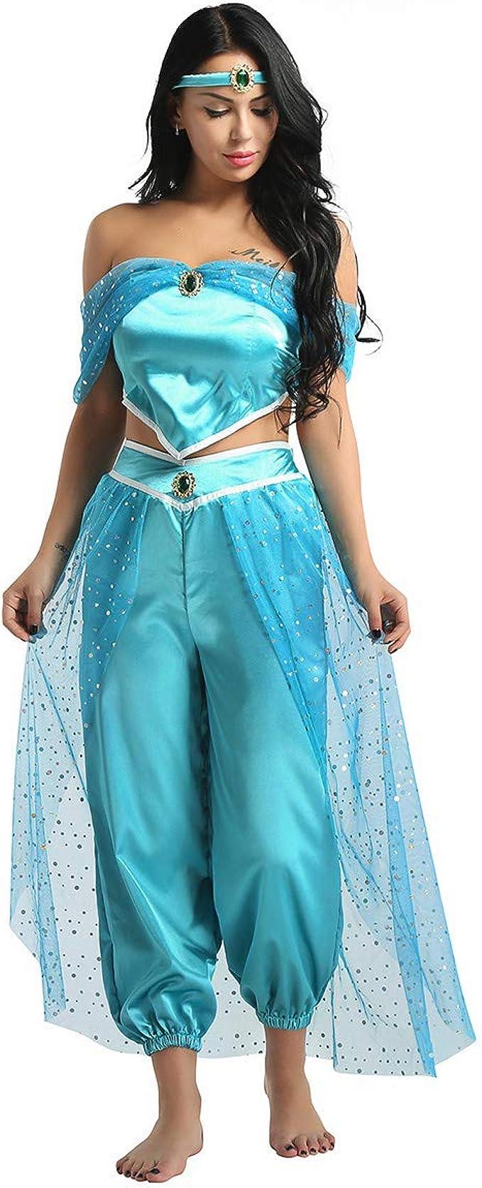 Agoky Disfraz de Princesa Jazmín para Mujer Chica Cosplay Traje de ...