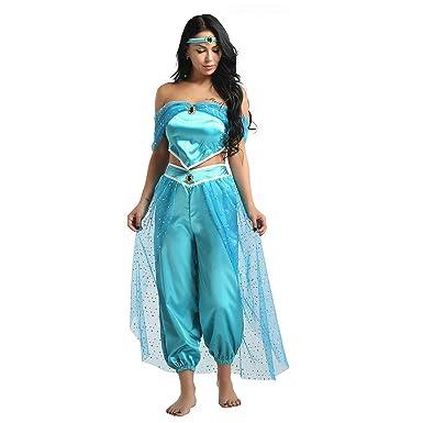 MSemis Disfraz Princesa Árabe para Mujer Chica Cosplay Jazmín Lámpara Aladino Traje Danza Oriental Conjunto India Turquía Disfraces Halloween Fiesta ...