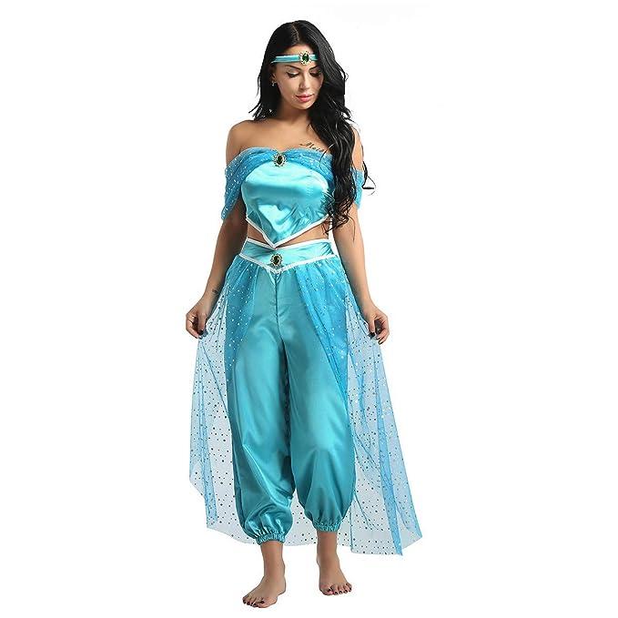 Agoky Disfraz de Princesa Jazmín para Mujer Chica Cosplay Traje de Danza del Vientre Lentejuelas Conjunto Top Pantalones Diadema Fiesta Halloween