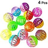 UEETEK ボール おもちゃ 猫 犬 鈴入りボール ミニ 鈴 プラスチック 4個 盛り合わせカラー(ランダムカラー)