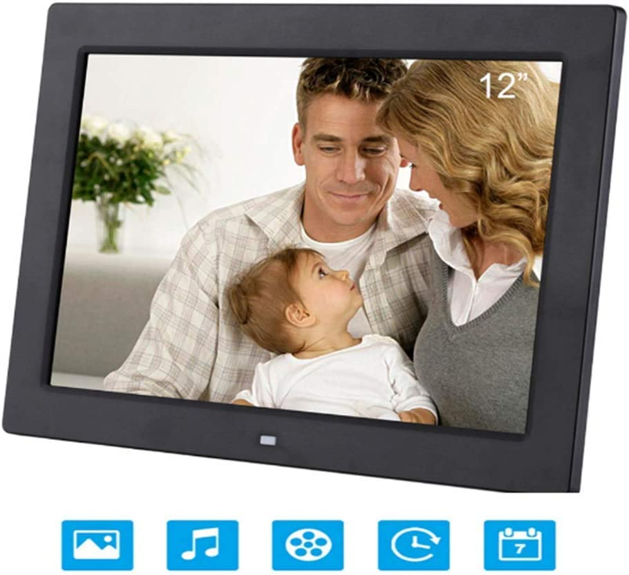 Digital Photo Frame 12 Inch Electronic Photo Frame with Motion Sensor and LED Display Wall-Mounted Advertising Machine HD Digital Photo Frame,Black