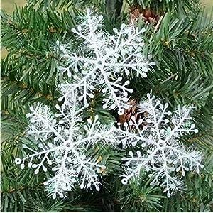10 Paquetes Con 30 Piezas De Copos Nieves Para Árbol De Navidad Colgantes Adornos 11cm Blanco 61zmkf648 L