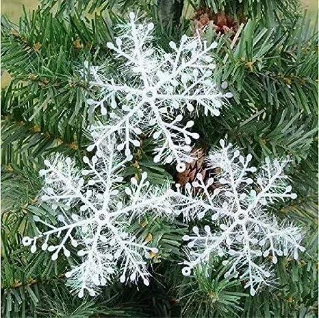 10 Paquetes Con 30 Piezas De Copos Nieves Para Árbol De Navidad Colgantes Adornos 11cm Blanco: Amazon.es: Bricolaje y herramientas