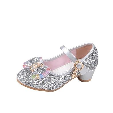 4e28dc592685 YYF Fille Chaussures Ballerine a Talon avec Paillettes Brillants Respirable  Comfortable