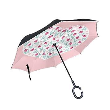 jstel doble capa puede corazón rosa paraguas coches Reverse resistente al viento lluvia paraguas para coche
