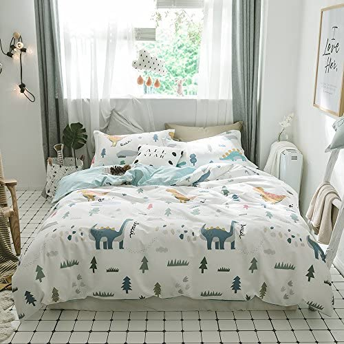 Blue Childrens Rotary Single Duvet Quilt and Pillow Case Bedding Set by Generic Duvet Covers Dinosaur
