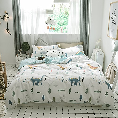 BuLuTu Dinosaur Print 3 Pieces Kids Duvet Cover Set Queen White For Teen Boys Girls 100% Cotton,Premium Reversible Dino Forest Bedding Sets Full Zipper Closure,Breathable,Soft,Cute,NO (Dinosaur Cover)