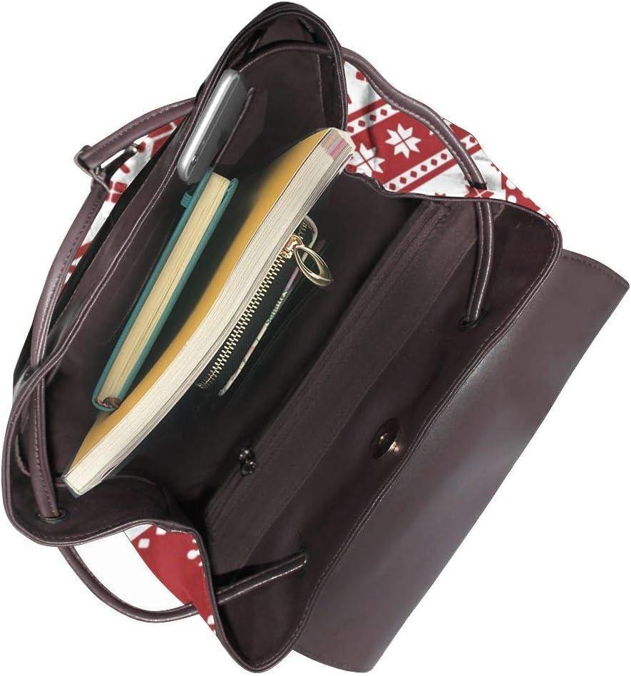 Women PU Leather Fashion Backpack Purse Red Christmas Pattern Travel School Shoulder Bag Girls Ladies Daypack Handbags