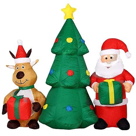 Immagini Di Natale Con Babbo Natale.Bakaji Gonfiabile Albero Di Natale Con Babbo Natale E Renna Con Luci A Led Altezza 150cm Sistema Autogonfiabile Kit Fissaggio Per Esterno Protezione