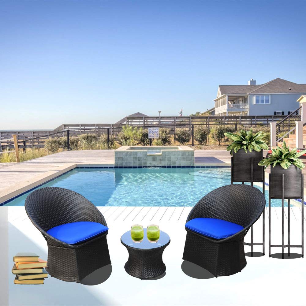 JETIME Patio Furniture Rattan Outdoor Black 3pcs Bistro Set Indoor Garden Wicker Furniture Chairs and Table Set Cushioned Seat with Navy Blue Cushion