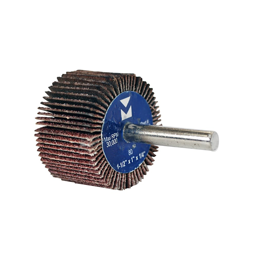 Grit 60 10-Pack Mercer Industries 364060 Mounted Aluminum Oxide Flap Wheel 2-1//2 x 1 x 1//4