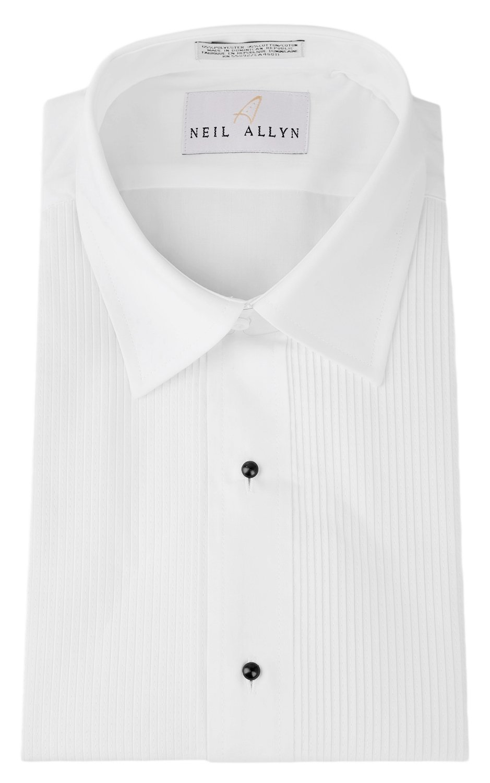 Tuxedo Shirt - Laydown Collar 1/8 Inch Pleat Laydown Collar (XL: 17 - 36/37, White)