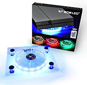 WF USB RGB LED Cooler Cooling Fan Stand, Wireless Remote Controller, Multi-Color LED Light Accessories for PS4 Playstation 4 Pro, PS4 Slim, Xbox One X, Notebook, Laptop, Gaming Consoles