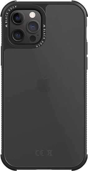 Black Rock - Custodia robusta trasparente adatta per Apple iPhone 12/12 Pro   Custodia trasparente (nero)