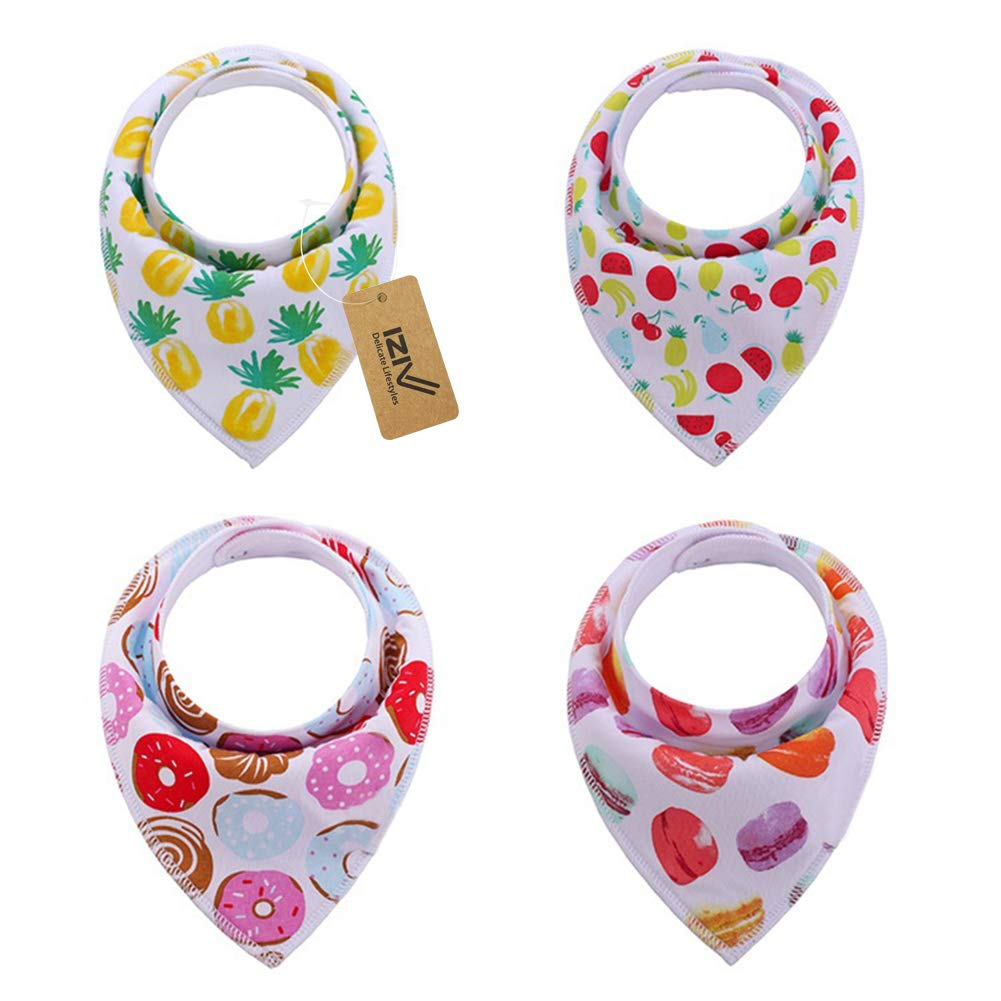 iZiv 4 PACK Baby Bandana Drool Bibs with Adjustable Snaps, Absorbent Soft Cotton Lining 0-2 Years (Color-2) Dlife TZN08