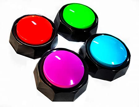 ZMOMO Set of 4, Recordable Button, Dog Training Buzzer - Record & Playback Your Own Message - 30 Second Recording Button (Battery Included) (4Pack (Red+Blue+Purple+Green))