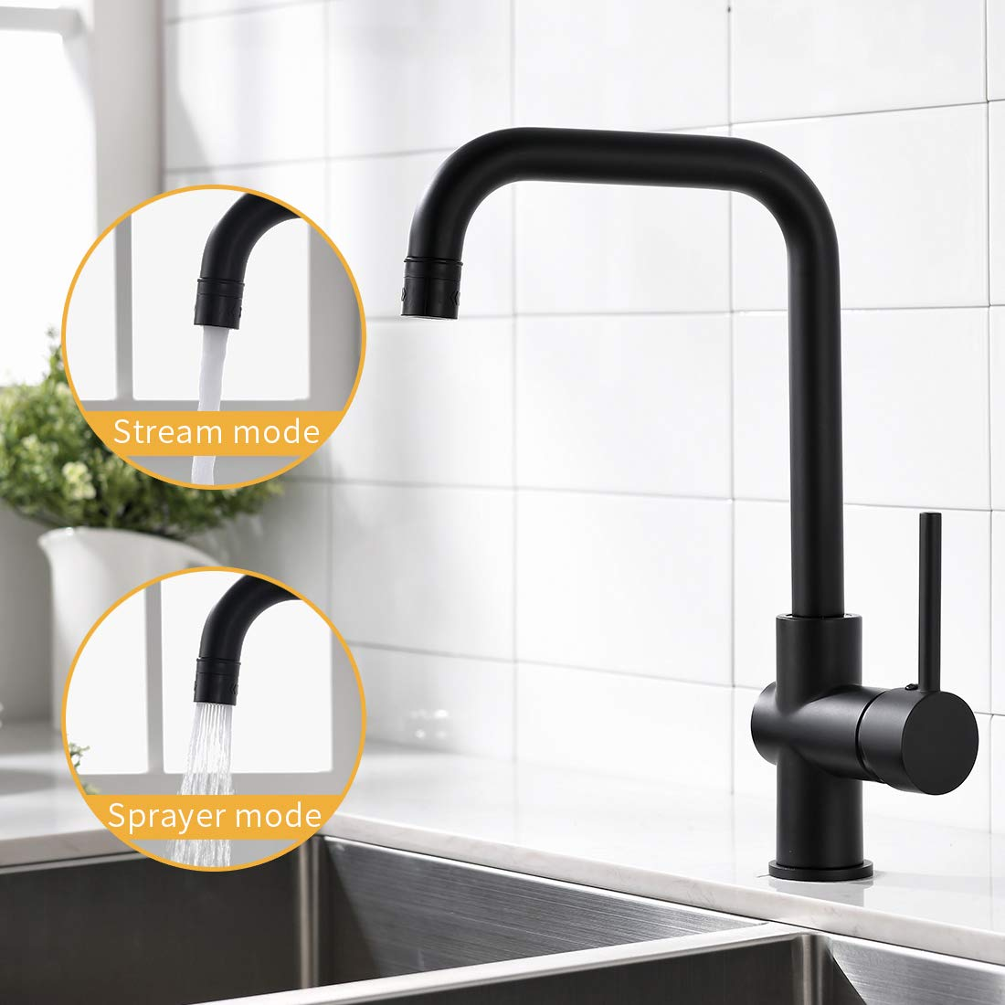 WANMAI Commercial Kitchen Faucet, Single Handle 360 Degree Rotation Sink Faucets with Solid Brass Body & Ceramic Valve, Matte Black