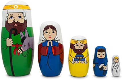 Joseph and Jesus Nativity Scene Wooden Nesting Dolls 5.75 Inches Mary