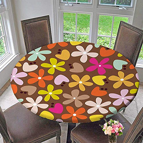 Round Polyester Tablecloth Table Cover Decor with Daisies and Tulips Bud in Cartoon Style Brown Backdrop Art Print for Most Home Decor 43.5